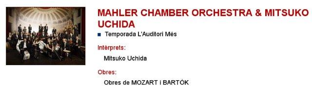 Mahler Chamber Orchestra & Mitsuko Uchida en L'Auditori - Mozart (17 y 25) y Bartok (Divertimento)