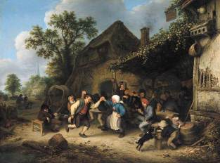 Peasants-carousing-and-dancing-outside-an-inn (Adriaen Van Ostade)