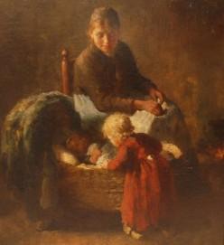 Bernard de Hoog - Interior con madre e hijos