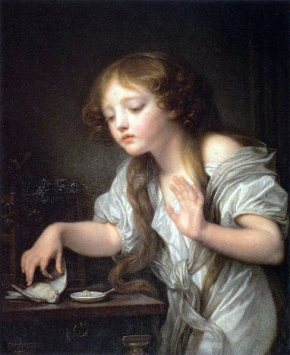 La Jeune fille qui pleure son oiseau mort  (version de 59) (Jean-Baptiste Greuze)