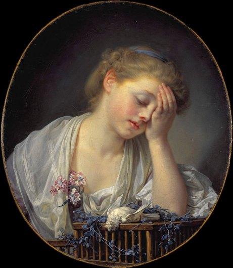 Une Jeune fille, qui pleure son oiseau mort (version de 65) (Jean-Baptiste Greuze)