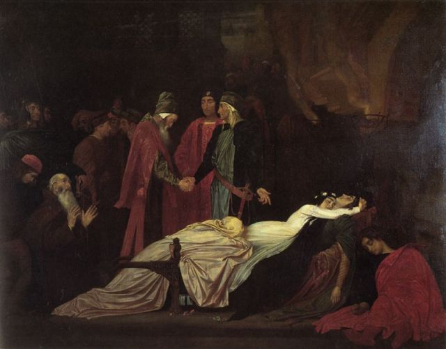 The Reconciliation of the Montagues and Capulets Over the Dead Bodies of Romeo and Juliet (Frederic Leighton)