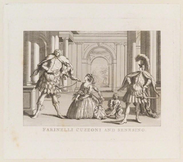 Farinelli Cuzzoni and Senesino (Gaetano Berenstadt; Francesca Cuzzoni; Unknown sitter; Francesco Bernardi ('Senesino')) by Inigo Barlow, after  Unknown artist
