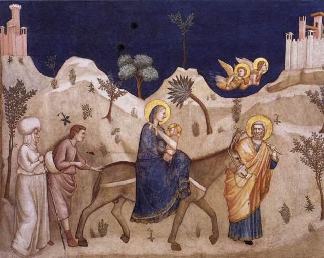 La huida a Egipto (North transept, Lower Church, San Francesco, Assisi) (Giotto di Bondone) (1311-1320)