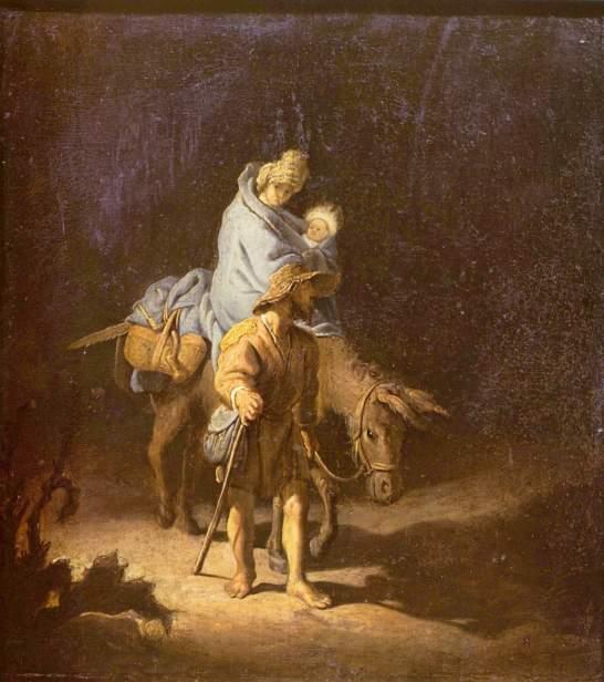 - 1627 La huida a Egipto (attr Rembrandt van Rijn) (1627)