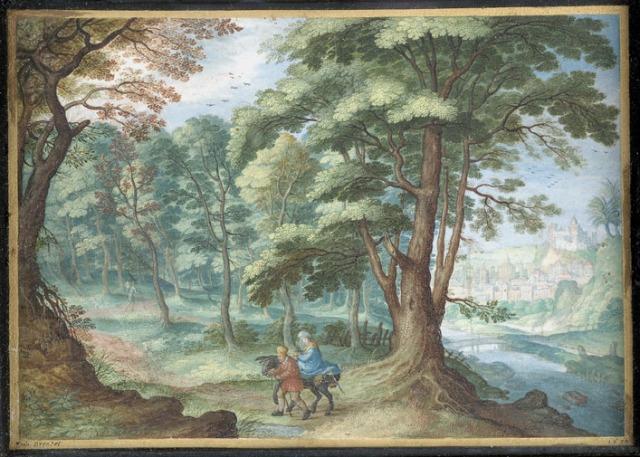 - 1638 Paisaje con la huida a Egipto  (Friedrich Brentel) (1638)