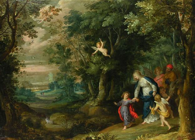- 1750 Huida a Egipto (Jean Brueghel el viejo y Hans Rottenhammer) (S XVII)