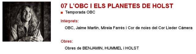 La OBC y Los planetas de Holst en L'Auditori