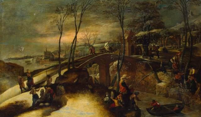 1555 Paisaje con la huida a Egipto (Gillis Mostaert) (SXVI)