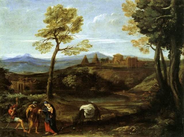 1605 Paisaje con la huida a Egipto (Domenichino) (c.1605)
