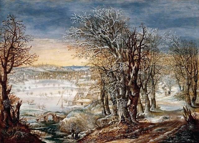 1616 Paisaje invernal en el bosque de Soignes, con la huida a Egipto (Denis van Alsloot) (c. 1616)