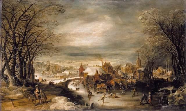 1620 Paisaje invernal con la huida a Egipto (Joos de Momper) (1600-1635)