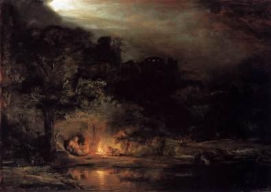- 1647 Descanso en la Huida a Egipto (Rembrandt van Rijn) (1647)