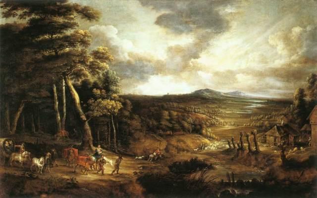 Paisaje con la huida a Egipto (Lucas van Uden) (1654)