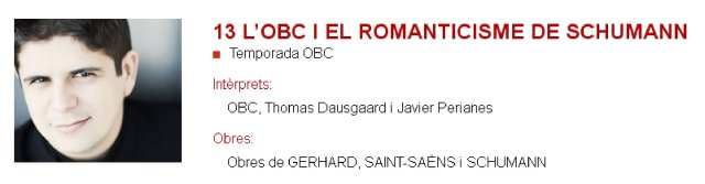 La OBC y el romanticismo de Schumann en L'Auditori (1) - Gerhard y Saint Saens