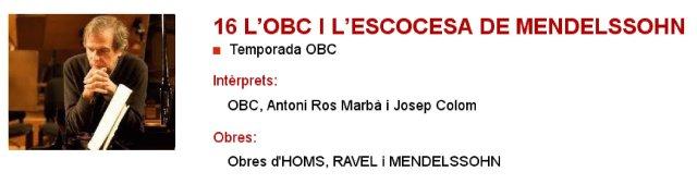 La OBC y la Escocesa de Mendelssohn en L'Auditori