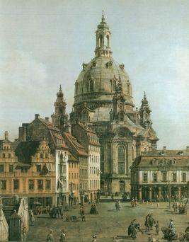 Nueva plaza del mercado de Dresde desde el Jüdenhof (Detalle con la Frauenkirche) (Canaletto, 1749-1751)