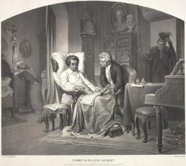 Ein Moment aus den letzten Tagen Mozarts - Lithography 1857 from Eduard Friedrich Leybold (1798-1879) after words from Franz Schramms