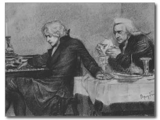 Salieri pours poison into a Mozart's glass - Mikhail Vrubel, 1884