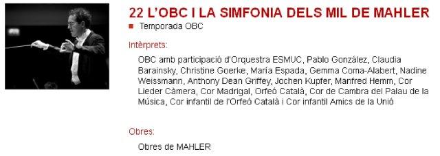 La OBC y la Sinfonía de los mil en L'Auditori