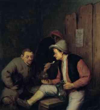 Campesinos fumando y bebiendo en una taberna