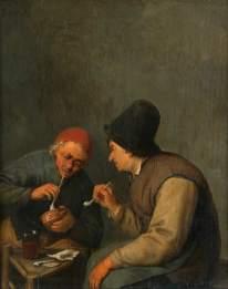 Dos campesinos fumando