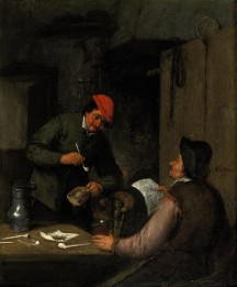 Dos campesinos fumando, bebiendo y leyendo en un interior