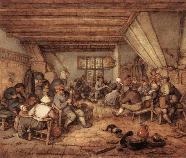 Campesinos de fiesta en una taberna (1673)