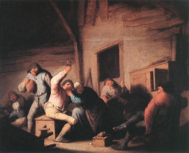 Campesinos de juerga en una taberna (1635)