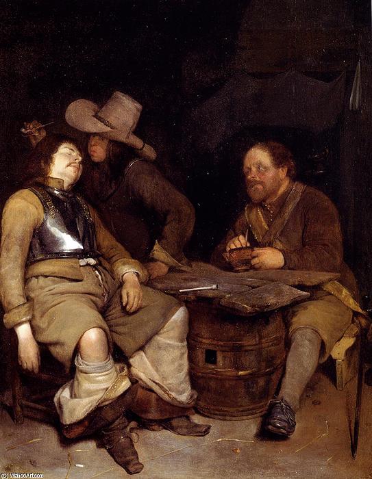 Cuarto de guardia con un soldado echando el humo en la cara de su compañero dormido, y un tercero mirando
