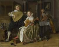 Un joven tocando un teorbo y una joven tocando una cítara
