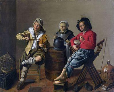 Dos niños y una niña haciendo musica