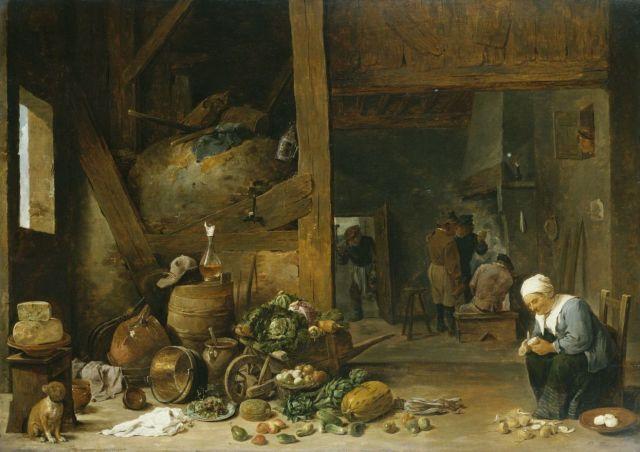 El interior de una cocina con una mujer mayor pelando nabos