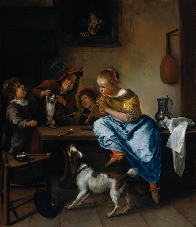 Niño enseñando a bailar a un gato (La lección de baile) (1660-1679)