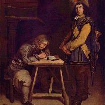 Oficial escribiendo una carta