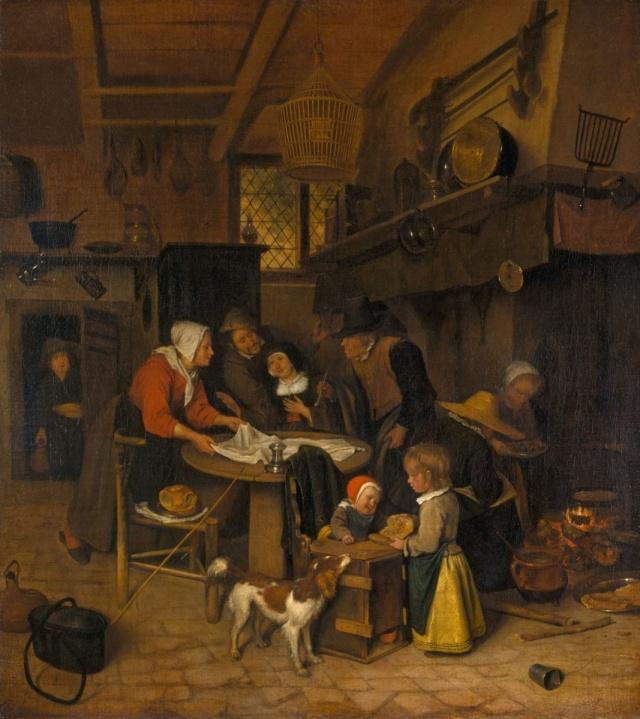 Una escena en una cocina rural con una criada poniendo el mantel (c.1665)