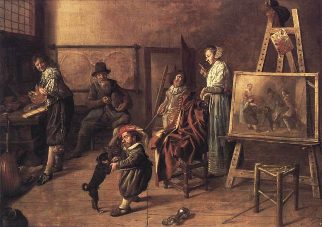 Pintor en su estudio, retratando una compañia musical