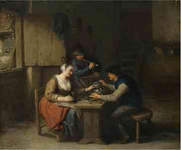 Interior de taberna con tres aldeanos