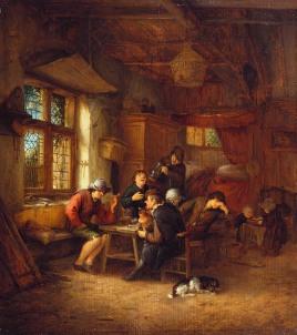 Interior de taberna con cinco campesinos y una mujer