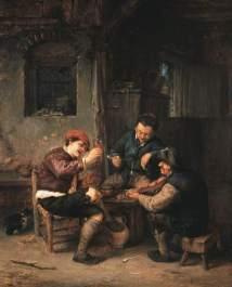 Tres campesinos en una posada