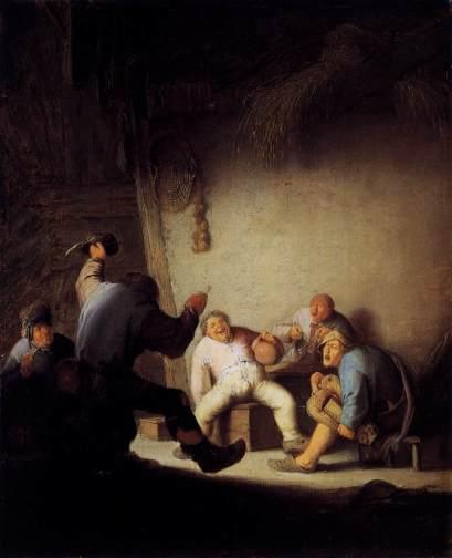 Campesinos bebiendo y cantando en un granero