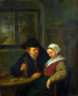 Un campesino cortejando a una mujer mayor