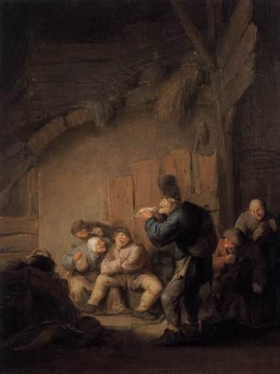 Comediante leyendo en una taberna