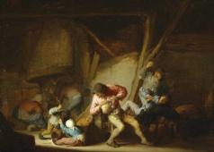 Interior con bebedores y niños gritando
