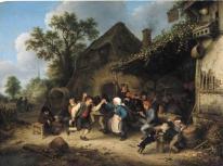 Campesinos diviertiéndose y bailando ante una posada