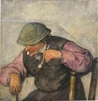 Un hombre sentado con una pipa
