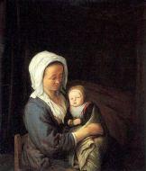 Mujer con un niño en la falda