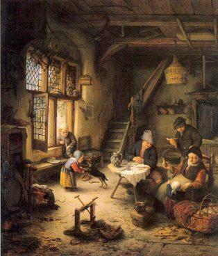 Familia campesina en un interior