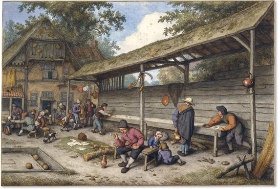 1677 Campesinos jugando al tejo ante una posada