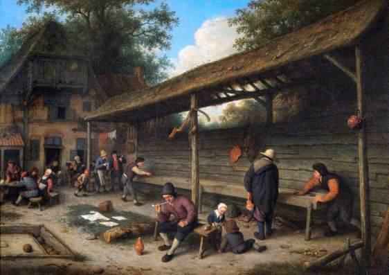 1677 T El patio de una posada con un partida de tejo (1677)